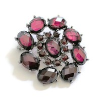 Large Oval Wine Red Acrylic Rhinestone Brooch Pin, In Antique Silver Tone, Gothic, Victorian Jewelry