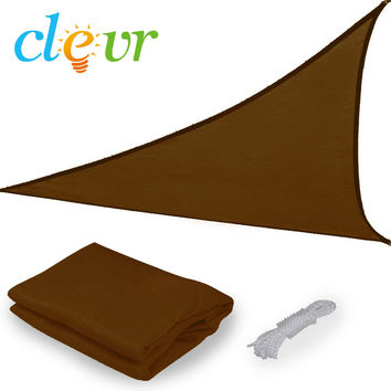 New Premium Clevr Sun Shade Canopy Sail 12ft Triangle UV Top Outdoor Patio Brown