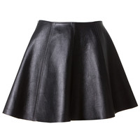 OPENING CEREMONY BLACK GRAINED LEATHER SKIRT