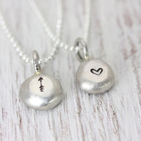 PEBBLE Necklace - Personalized Hand Stamped with Initial or Design Stamp - Pebbles Jewelry - Organic Minimalist Perfect Layered Necklace