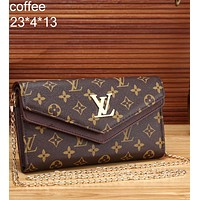 LV 2018 tide brand fashion leisure wild quality leather metal chain bag handbag F-MYJSY-BB coffee