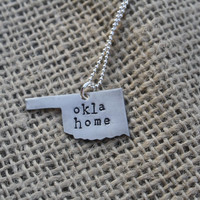 On Sale Today Only. Hand Stamped Oklahoma Necklace. Regularly 35. Today only 30.