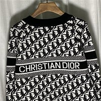 Christian Dior new product D classic letter presbyopia knitted sweater loose mens and womens sweater