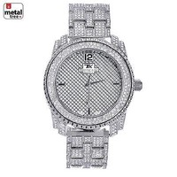Jewelry Kay style Men's Fashion Stainless Steel Back Iced Out Heavy Metal Band Watches WM 1078 S