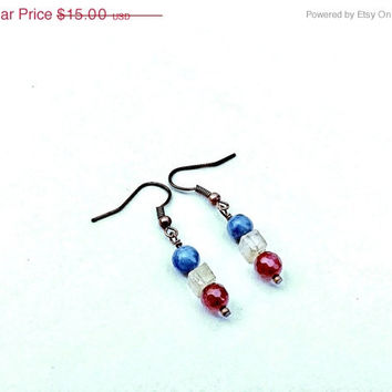 On Sale Red White Blue Earrings, Natural Red Rubies, Yellow Jade, and Blue Aventurine, Free Shipping