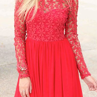 Red Backless V-Neck Dress