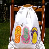 Painted Drawstring Back Pack With Flip Flops