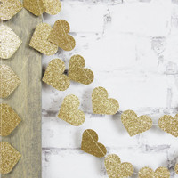 Gold Heart Garland - Gold Wedding Decor - Gold Glitter Garland - Gold Bridal Shower