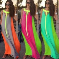 Four Colors Women's Fashion Summer Beach Long Dress Evening Cocktail Party Celebrity Gown O Neck Maxi Sexy Skirt = 5617070593