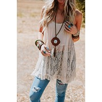 Sweet Secrets Lace Tunic - Natural