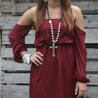 Today Was A Fairytale Maroon Off Shoulder Dress