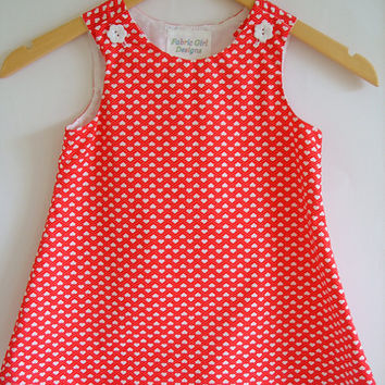 Girls dress, red, white, hearts, Kids clothing, girls clothing, aline, pinafore, tunic, 100% cotton, girl, baby, toddler, size 6m to 8 years