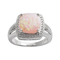 Sterling Silver Lab-Created Pink Opal & Diamond Accent Frame Ring