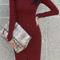 Wine Red Long Sleeve Turtleneck Knitted Dress