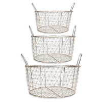 Set of 3Silver Plated Baskets w/Handles, Storage Baskets