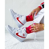 Air Jordan 1 Mid WMNS White University Red mid-top sneakers shoes