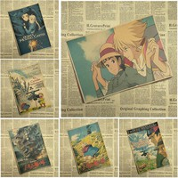 Miyazaki Hayao Howl's Moving Castle Cartoon Movie Poster Kraft paper Brown Bar Cafe living Child room Posters
