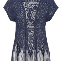 Open Lace Fringe Bottom Cardigan - Blue