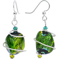 Green Dichroic Glass Dangle Earrings MADE WITH SWAROVSKI ELEMENTS | Body Candy Body Jewelry