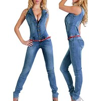 New Arrival 2017 jumpsuits jeans European style Women Jumpsuit Denim Overalls Shirt Rompers Girls Pants Jeans S-XL Bodysuit 2043