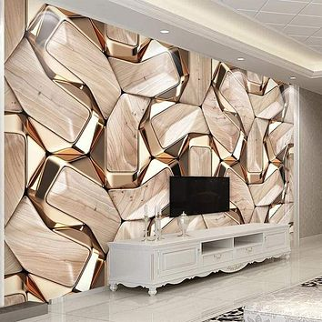 3D Abstract Geometry Gold Metal Pattern Wall Paper