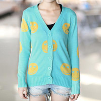 Funny Smiling Face Knitwear/ Cardigan