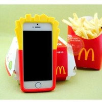 Huaxia Datacom New Fashion Chips Mcdonald 3D French Fries Silicone Protective Case for Apple iPhone 4 4S