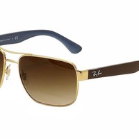 Ray Ban Men's RB3530 RB/3530 RayBan 001/13 Gold/Brown/Blue Sunglasses 58mm