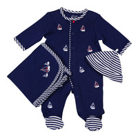 Little Me Baby-boys Sail Boat Footie Hat and Blanket Set