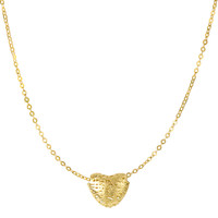 14K Yellow Gold Textured Puffed Heart Pendant On 17 Inch Necklace