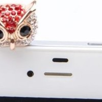Mavis's Diary Bling Crystal 3.5mm Rhinestones Night Owl Pattern Cellphone Charms Anti-Dust Dustproof Earphone Audio Headphone Jack Plug Stopper for iPhone 4 4S Samsung Galaxy S2 S3 Note I9220 HTC Sony Nokia Motorola LG Lenovo (Red)+Free Mavis's Diary Clean