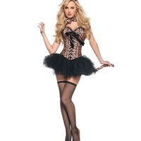 Burlesque leopard printing corsets Sexy Feral Charm Leopard Deluxe shapers Animal Costume with Tutu Skirt