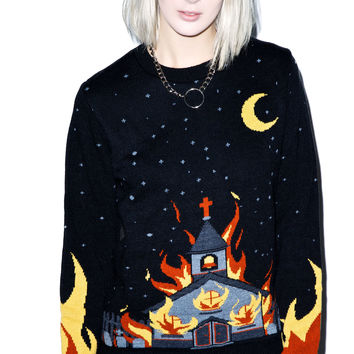 Kill Star Church Knit Sweater Black