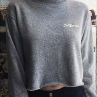 Round neck long sleeve straight embroidery grey sweater