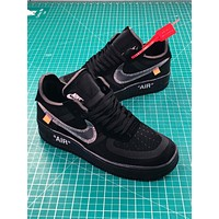 Off White X Nike Air Force 1 Low Premium Af1 Black Sport Shoes