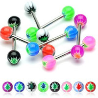 """(Pack of 16) Body Jewelry 14g 5/8"""" Nipple Bar Ring or Tongue Straight Basic Barbell Pot Leaf Design"""