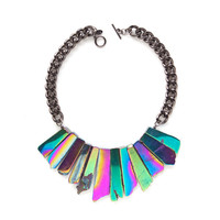 The Stardust Necklace - Galactic - Holographic agate statement necklace
