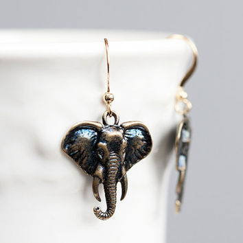 Elephant Earrings Good Luck Charms Antiqued Bronze by SilentRoses