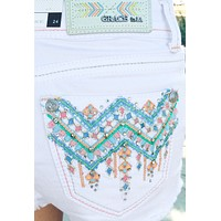GRACE IN L.A. TROPICAL VIBES HIGH WAIST SHORTS IN WHITE
