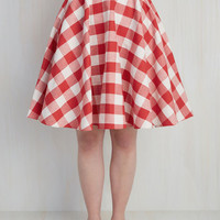 Raising the Bar-Becue Skirt in Red