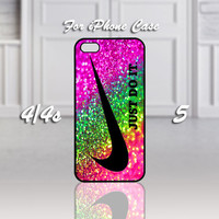 Nike Just Do It  Rainbow Sparkle Glitter Printed, Design For iPhone 4/4s Case or iPhone 5 Case - Black or White (Option)