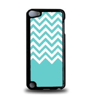 Teal White Chevron iPod Touch 5 Case - For iPod Touch 5/5G - Designer Plastic Snap On Case