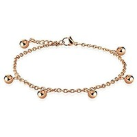 BodyJ4You Anklet Bracelet Beads Balls Rose Goldtone Stainless Steel Body Fashion Jewelry