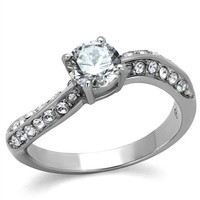 CZ High Polish Stainless Steel Engagement Ring