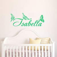Housewares Girl Nursery Room Personalized Name Nice Butterflies Wall Vinyl Decal Sticker Kids Nursery Baby Room Decor V333