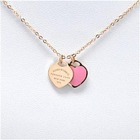 """Brand Tif Necklace Green/Pink""""FOREVER LOVE""""Stamp Pendant Necklace Choker Statement Enamel Double Heart Short Necklace For Women"""