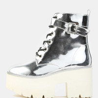 Metallic Lug Sole Booties SILVER -SheIn(Sheinside)