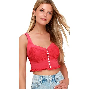 Free People Here I Go Brami Top Red