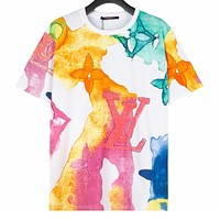 Louis Vuitton LV Women's Watercolor and Ink Crew Neck Short Sleeve T-Shirt
