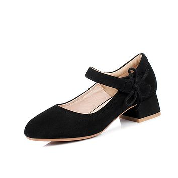 Ladies Shallow Toe Mary Janes Knot Woman Chunky Pumps Shoes